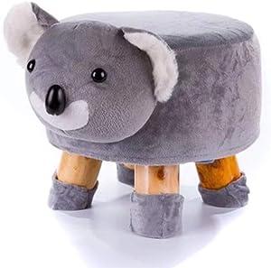 QTQZDD Massivem Holz Kinder hocker,Cartoon kleine plüsch osmanischen kreative Tier hocker für zuhause reiten-auf Änderung Schuh sitzbank gepolstert-L