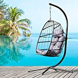 Brafab Wicker Rattan Swing Egg Chair, Hammock Chair, Hanging Chair, Aluminum Frame and UV Resistant Cushion with Steel Stand, Indoor Outdoor Patio Porch Lounge Hand Made Chair 350LBS Capacity