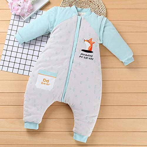Unisex baby inbakerdekens, afneembare mouw slaapzak, baby kruipend pak-blauwe print_80 yards, baby wrap deken anti-kick