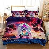 YYOUNG Juegos de Fundas Montañas Impresión Comfortable Bedding Quilting Set 100% De Microfibra (1 Funda Nórdica + 2 Fundas De Almohada) H-UK Double(200x200) cm
