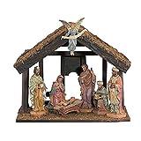 7-PC Nativity Set W/Wood Stabl