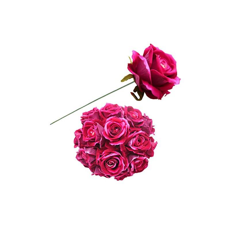 silk flower arrangements cn-knight artificial rose in bulk wholesale 20pcs 10'' velvet silk rose with wire stem real looking fake flower for wedding bridal bouquet home décor flower wall hair flower hat trim (fuschia)