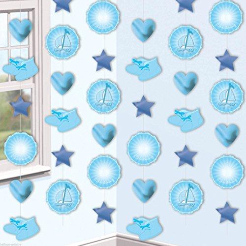 amscan Guirlandes décoratives Design Chaussons de baptême Bleu 2 m