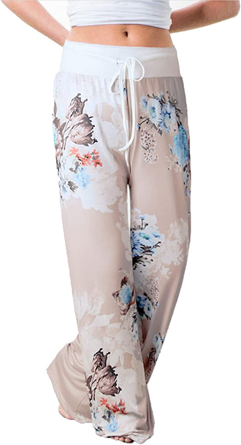 Women's Printed Wide-Leg Pants Comfy Stretch Floral Print Drawstring Lounge Trousers Casual Stretchy Casualpants (XX-Large,Gray 12)