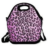 Bolsa de almuerzo reutilizable con estampado de animales, color negro y rosa con correa de hombro ajustable desmontable para mujeres, hombres, niños, bolsa de almuerzo