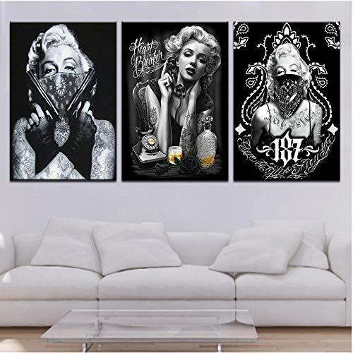 Tatuaje Marilyn Monroe Art Prints Negro Blanco Pop Art Poster Retrato Atractivo Lienzo Cuadros de Pared 3 Paneles para Decoraciones de Oficina en casa 50x75cm sin Marco