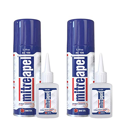 MITREAPEL Super CA Glue (2 x 0.90 oz) with Spray Adhesive Activator (2 x 3.30 fl oz) - Crazy Craft Glue for Wood, Plastic, Metal, Leather, Ceramic - Cyanoacrylate Glue for Crafting & Building (2 PACK)