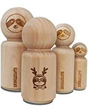 Sloth Reindeer Christmas Rubber Stamp for Stamping Crafting Planners - 1/2 Inch Mini