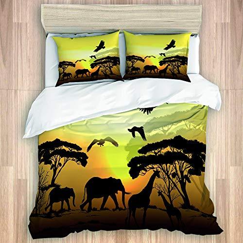 PONIKUCY Bettwäsche Set,Silhouette von Eagle Elephant und Giraffe Savanna Scene,1 Bettbezug 135x200cm+2 Kopfkissenbezug 50x80cm