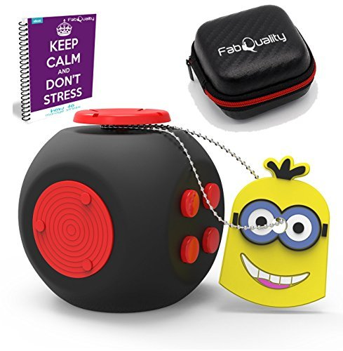 FabQuality Fidget Toys + Steel Flipping Chain - Premium Quality Fidget Cube Ball with Exclusive Protective Case, Stress Relief Toy (Black & White)