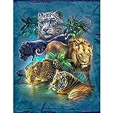 Upmall Kit de peinture diamant 5D Maspor - Pour adultes - Pour décoration artistique - Tigre lion, guépard - 11,8 x 15,7 cm