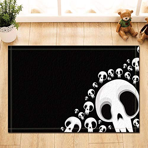 Gothic Bad Teppiche von gohebe Funny elfenbeinfarben weiß Skull Kreativität Digital Drucken rutschfeste Fußmatte Boden Eingänge Innen vorne Fußmatte Kinder Badematte 39,9x 59,9cm Badezimmer Zubehör