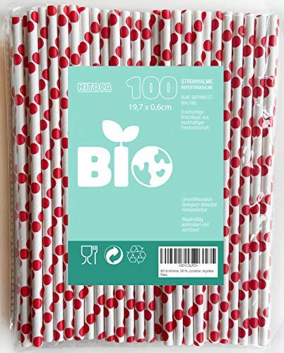 BIO Strohhalme, 100 Trinkhalme, umweltfreundlicher Einweg Öko Trinkhalm, formfeste Pappe, biologisch abbaubares Papier, rot, bunt, plastikfrei, kompostierbar, recyclebar, Kinder, Bar, Cocktail
