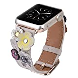 V-MORO Flowers Leather Bands Compatible with Apple Watch Bands 38mm 40mm Series 4/3/2/1 Women with Stainless Steel Buckle Rose Gold, iWatch Replacement Bands Strap Wristbands (Ivory White, 38mm/40mm)
