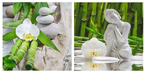 levandeo 2er Set Glasbild 30x30cm Buddha Weiße Orchidee Bambus Wandbild Deko Wanddeko Wellness Dekoration