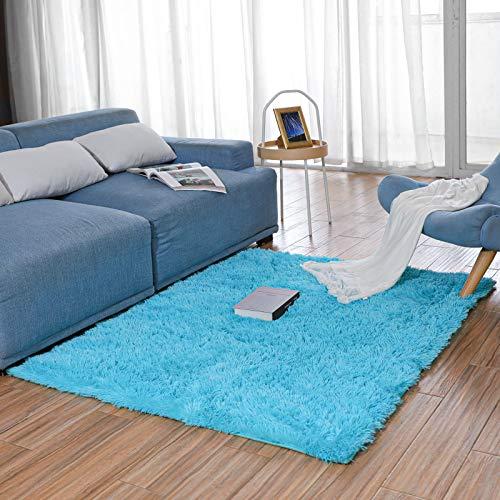 BAYKA Machine Washable Fluffy Area Rug Indoor Ultra Soft Shag Area Rug for Bedroom, Non-Slip Floor Carpet for Kids Home...
