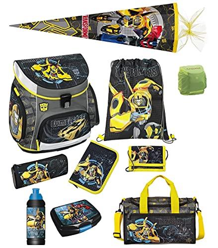 Familando Transformers Bumblebee Schulranzen-Set 10 TLG. mit Dose, Flasche, Sporttasche, große Schultüte 85cm und Regenschutz