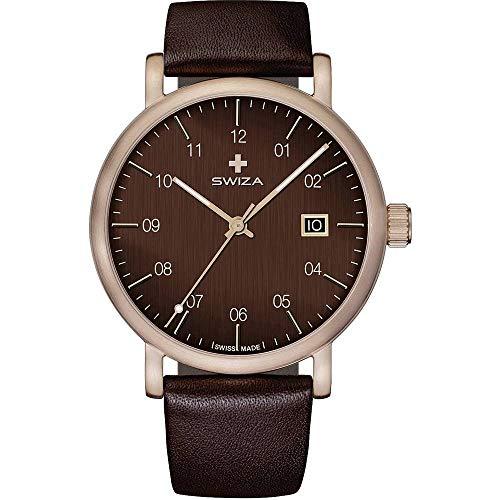 SWIZA Armbanduhr ALZA Brown, Schweizer Quarzwerk Ronda 515, 316L Stahl, bronzefarben PVD-beschichtet, Kalbslederarmband