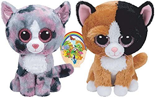 Ty Beanie Boos Cats Friends Tauri and Linda Gift set of 2 Plush Toys 6-8 inches tall with Bonus Animals Sticker by Ty Beanie Babies