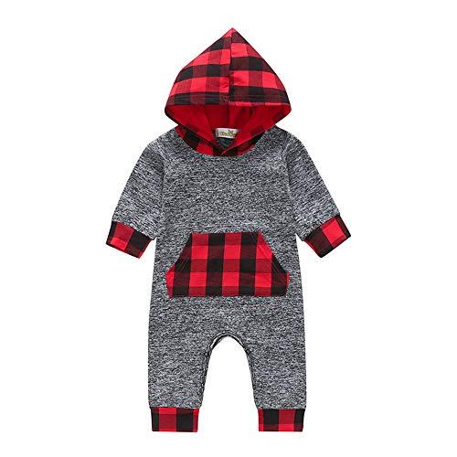 Covermason Baby Babykleidung Neugeborene Winter,Covermason Säugling Kleinkind Baby Jungen Mädchen Plaid Pullover mit Kapuze Oberteile Tops+ Hosen Set Outfits (12-18M, Rot)