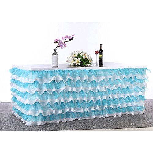 """Abwin Handmade Deluxe Elegant Tulle Table Skirt for Party Decoration,Birthdays, Wedding and Home Decor, 9F Long by 29"""" High (Blue)"""