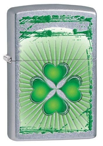 Zippo Shamrock Lighter, Street Chrome