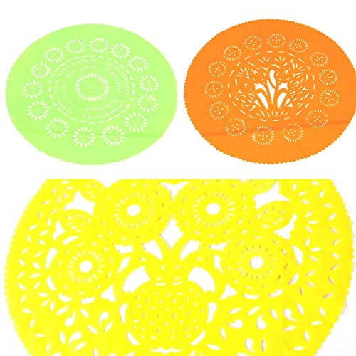 3pk Mexican centerpieces for Tables, Papel Picado Place mats, 23 Inches Colorful Table Decor for Birthday Parties, Weddings, and Mexican Fiesta, Colors are Orange, Yellow and Green.