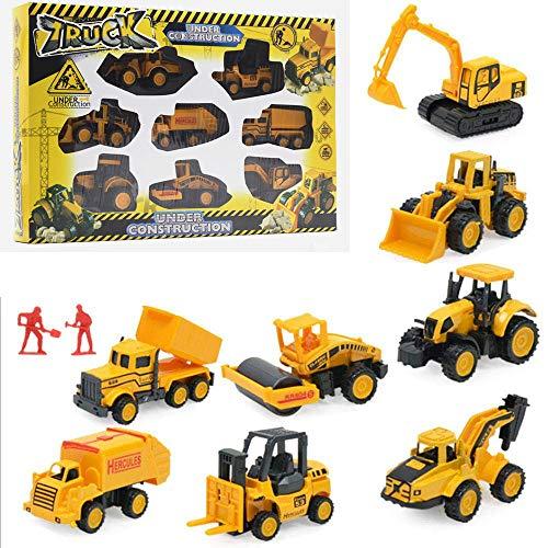 SKAJOWID Engineering Fahrzeuge Set, 8 Stück Druckguss BAU Auto Spielzeug, Minibagger, Dumptruck, Bulldozer, Dampfwalze, Gabelstapler, Müllwagen, Anhänger, Bohrer Bagger Spielzeug Geschenk