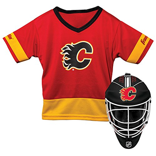 Franklin Sports Calgary Flames Kid's Hockey Costume Set - Youth Jersey & Goalie Mask - Halloween Fan Outfit - NHL Official Licensed Product