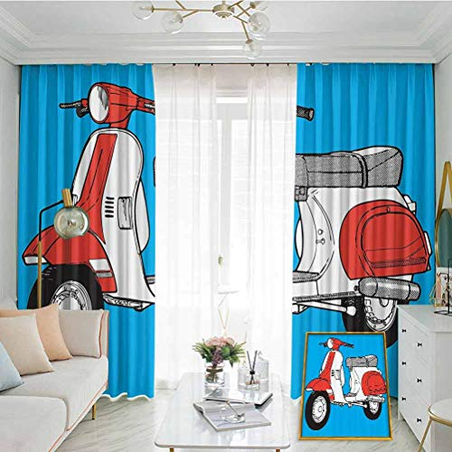 Annery Funky Decor Sunshade Sunscreen Curtain Cute Scooter Motorcycle Retro Vintage Vespa Soho Wheels Rome Graphic Print Soundproof Shade W72 x L108 Inch Blue Red White