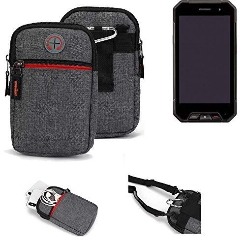 K-S-Trade® Gürtel-Tasche Für Cyrus CS 27 Handy-Tasche Holster Schutz-hülle Grau Zusatzfächer 1x
