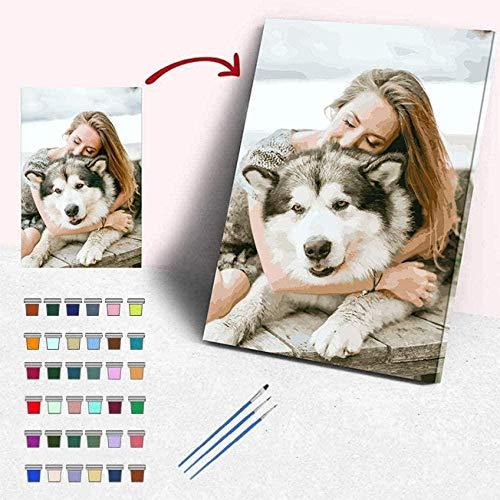 Kits de pintura personalizada por número para adultos Foto personalizada Crea tu propia pintura al óleo Kits de pintura DIY por número para niños Retrato principiantes Animales Fotos personalizadas