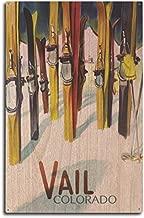 Lantern Press Vail, Clorado - Colorful Skis (10x15 Wood Wall Sign, Wall Decor Ready to Hang)