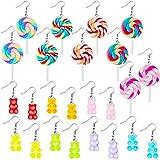 12 Pairs Candy Bear Earrings Lollipop Pendant Earrings Colorful Cartoon Drop Rainbow Resin Dangle Earrings for Women