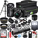 Sony Alpha a6000 Mirrorless Digital Camera with 16-50mm Lens Bundle with 55-210mm Zoom E-Mount Lens, 500mm Preset Telephoto Lens, 64GB Card and Accessories (19 Items)