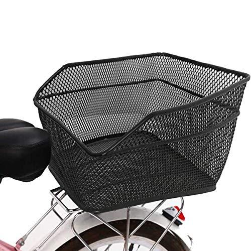 Lesrly-Cycle Cestino Posteriore della Bicicletta, Cesto Posteriore di Grande capacità di Metallo, Rack per Biciclette, Cestino di stoccaggio della Bicicletta, Adatto a Tutti i Tipi di Biciclette