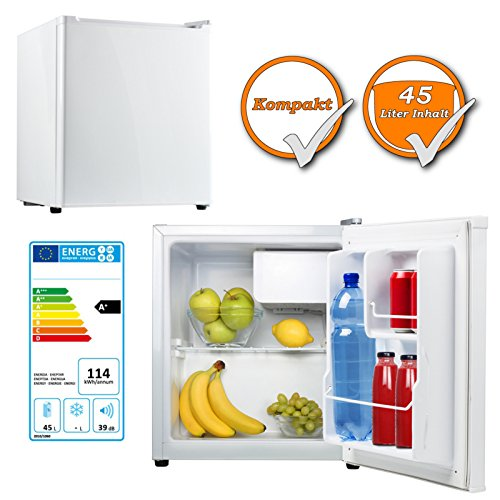 Leistungsfähiger Kühlschrank, 45Liter inklusive 5Liter Gefrierfach, Energieeffizienzklasse A+, weiß