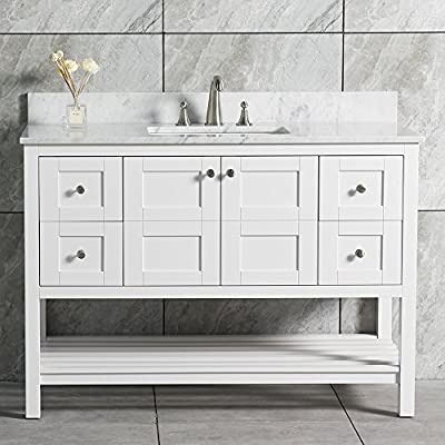 """WoodBridge 48"""" Solid Wood Vanities with Carra White Marble Top with Rectangle Bowl, White Color. Sydney-4821"""