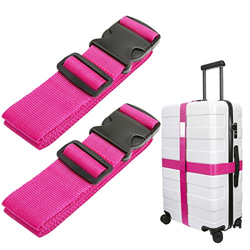 Luxebell Luggage Straps Suitcase Belt Travel Accessories, 1.96 in W x 6.56 ft L, 2-Pack (6.56ft, Pink)