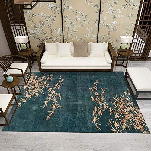 TANGYUAN Alfombra Interior Exterior Balcón Resistente Intemperie - Familia Alfombra bambú Hoja Calidad étnico clásico Elegante Ocio fácil de Limpiar-El 120x160cm