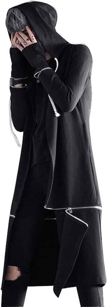Men's Long Hooded Cape Black Trench Coat Hip Hop Hoody Cardigan Jacket Punk Male Casual Overcoat