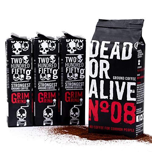 DEAD OR ALIVE Moka N08 - 250g gemahlener Kaffee - starker und säurearmer Mokka Kaffee - feinste Robusta mit wenig Arabica Bohnen - Zubereitung mit der Herdkanne - Mokka für die Bialetti (1)