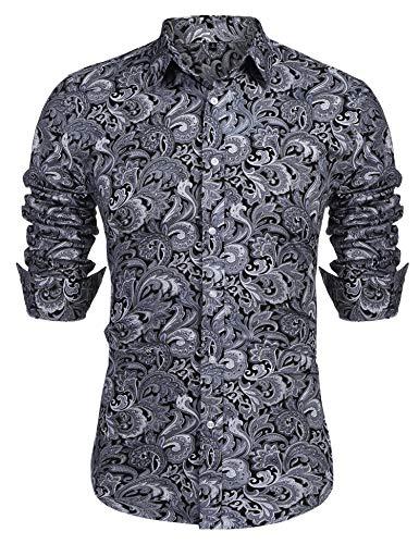URRU Men's Floral Dress Shirt Long Sleeve Casual Paisley Printed Button Down Shirt Grey L