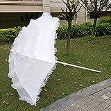 GAOYUN Sombrilla de Encaje para Patio, sombrilla de Playa, Elegante sombrilla de jardín al Aire Libre, Blanca, con botón de inclinación(1,8 m / 6 pies)