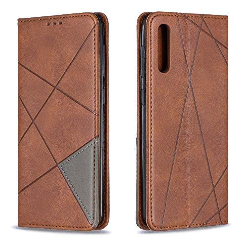 Tosim Galaxy A50 / A50S / A30S Hülle Klappbar Leder, Brieftasche Handyhülle Klapphülle mit Kartenhalter Stossfest Lederhülle für Samsung Galaxy A50 - TOBFE190155 Braun