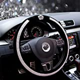 Fochutech Steering Wheel Cover, Crystal Studded Rhinestone Bling Steering Wheel Cover, Breathable, Anti-Slip, Odorless, Warm in Winter and Cool in Summer, Universal 15 inches (Crown,Black)