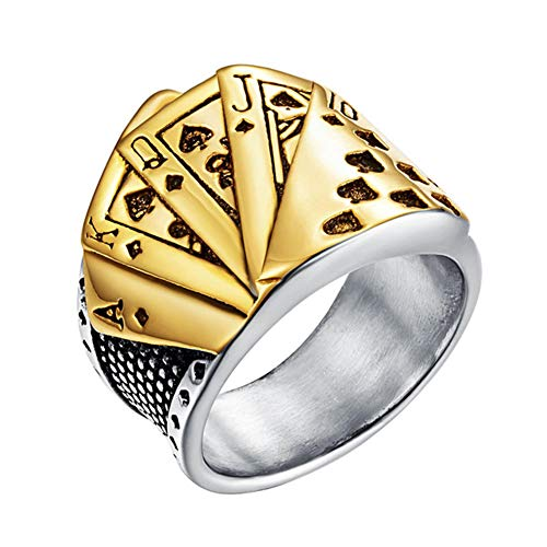 Valily Heren RVS Silver Spades Royal Flush Poker Lucky Ring voor mannen Dames Poker Ring voor Game Lovers