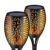 SIKOT Solar Torch Lights with Flickering Dancing Flame, Outdoor Yard Decoration Patio Lights Landscape Lighting Dusk to Dawn Auto On/Off Upgraded 3 Modes Path Lights for Garden Deck Driveway (2 Pack)