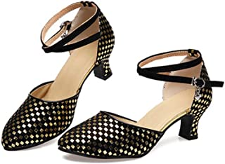 lcky Women's Round Head Closed Toe Latin Dance Shoes Buckle Sandals