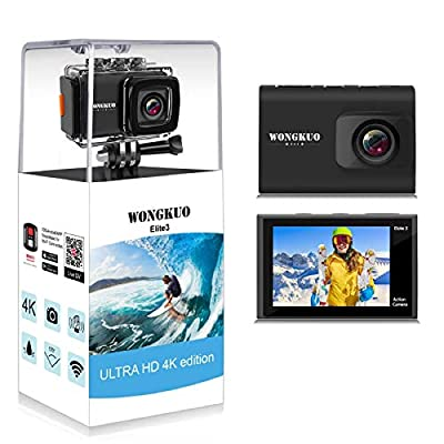 WONGKUO Action Camera 4K WiFi Sport Camera 20 MP Camcorder with External Microphone EIS Underwater 100ft Waterproof Camera from WONGKUO